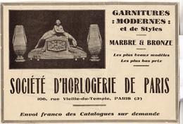 RARE PUB SUR PAPIER - 1930 - SOCIETE D'HORLOGERIE DE PARIS - Orologi Da Muro