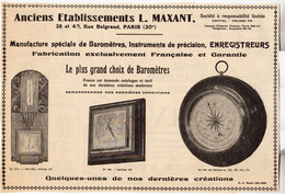 RARE PUB SUR PAPIER - 1930 - ETABLISSEMENTS L. MAXANT - BAROMETRES - PARIS - Orologi Da Muro
