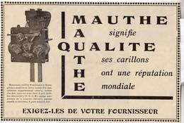 RARE PUB SUR PAPIER - 1930 - CARILLONS MAUTHE - LA QUALITÉ - Orologi Da Muro