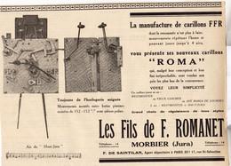 RARE PUB SUR PAPIER - 1930 - CARILLONS ROMA - LES FILS DE F. ROMANET - MORTEAU - JURA - Orologi Da Muro