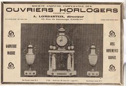 RARE PUB SUR PAPIER - 1930 - OUVRIERS HORLOGERS - COOPERATIVE - PARIS - Orologi Da Muro