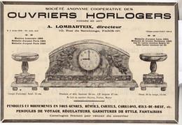 RARE PUB SUR PAPIER - 1930 - OUVRIERS HORLOGERS - COOPERATIVE - A. LOMBARTEIX DIRECTEUR - PARIS - Orologi Da Muro