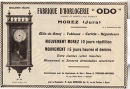 RARE PUB SUR PAPIER - 1930 - FABRIQUE D'HORLOGERIE ODO - MOREZ - JURA - Orologi Da Muro