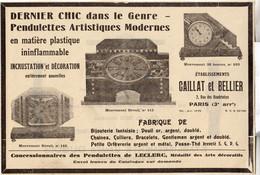 RARE PUB SUR PAPIER - 1930 - PENDULETTES ARTISTIQUES MODERNES - CAILLAT ET BELLIER - PARIS - Orologi Da Muro