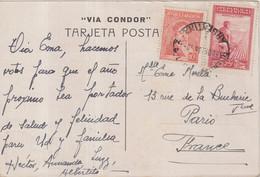 """ARGENTINE : PA . CP . VIA """" CONDOR DE NOUVEL AN """" . POUR LA FRANCE . 1936 . - Covers & Documents"""