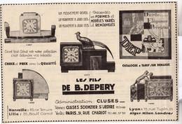 RARE PUB SUR PAPIER - 1930 - REVEILS - LES FILS DE B. DEPERY - CLUSES - Orologi Da Muro