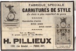 RARE PUB SUR PAPIER - 1930 - FABRIQUE SPECIALE DE GARNITURE DE STYLE - H. PILLIEUX - HORLOGES - PENDULES - Orologi Da Muro