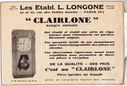 RARE PUB SUR PAPIER - 1930 - ETABLISSEMENTS L. LONGONE - CLAIRLONE - PARIS - Orologi Da Muro