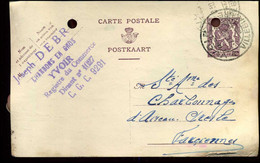 """Postkaart : Van Yvoir Naar Farciennes -- """"Joseph Debry, Charbons En Gros, Yvoir"""" - Cartes Postales [1934-51]"""
