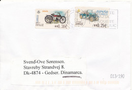 Spain Cover With ATM Franking Labels Sent To Denmark 26-8-2002 - 2001-10 Storia Postale