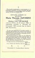 Doodsprentje - Maria Theresia Janssens - Rillaar 1864 - Aarschot 1929 Met Foto. - Andachtsbilder