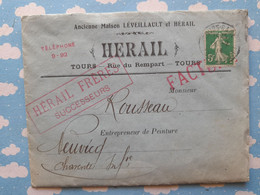 PUBLICITE HERAIL TOURS FABRIQUE DE COULEURS ENVELOPPE TIMBRE INTERDICTION DU CERUSE  1er JANVIER 1913 - 1900 – 1949