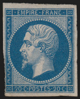 N°14A, Napoléon Non-dentelé 20 Bleu, Type I, Neuf * Avec Charnière - BEAU - 1853-1860 Napoleon III