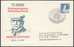 Berlin, Ganzsache, 75 Jahre Württembergischer Philatelisten Verein Stuttgart, Gelaufen 1957 - Postkarten - Gebraucht