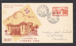 0le  0144  -  Maroc  :  Yv  343  (o)  Sur Lettre Premier Jour - Cartas