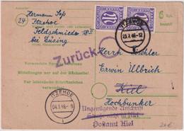 All.Bes./BZ - 6 Pfg. Ganzsache/Behelfsausgabe+Zusatz Itzehoe - Kiel 1946 Retour - Unclassified