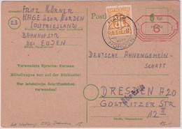 All.Bes./Notausgabe Bremen - 6 Pfg. Ganzsache+Zusatz Hage ü. Norden 1945 - Unclassified