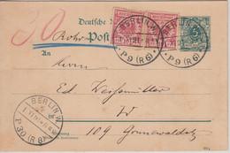 DR - 5 Pfg. K/A Ganzsache+Zusatz Rohrpostkarte Berlin W P9(R6) 1891 - Covers & Documents
