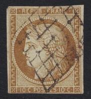 TIMBRE CÉRÈS N° 1 OBLITÉRÉ GRILLE (COTE 300€) - 1849-1850 Ceres