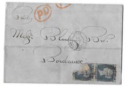 LETTRE  POUR BORDEAUX.  1856   .N°13..DENTELE  16... PAIRE UN TIMBRE DECHIRE...TBE SCAN - Covers & Documents