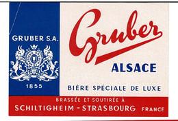 Ancienne étiquette Brasserie  Gruber à Schiltigheim 67 - Beer