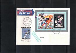 Guyana 1992 Olympic Games Albertville Biathlon Block Interesting Cover FDC - Invierno 1992: Albertville