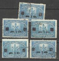 Kingdom SHS Yugoslavia 1922 Mi 164 - 5 Stamp Different Error OVPT ,double - Usati