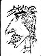 Tableau Dessin Diable Satan Démon Astaroth Exorcisme Outsider Art Brut Peculiar Art Singulier Tatoo Art Tribal Satanisme - Dessins