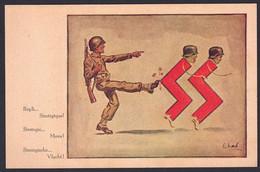 """+++ CPA - Militaria - Satire - Guerre 40-45 - Soldat Américain - SS Allemands  - """"Repli Stratégique""""  - Illustrateur ?// - Weltkrieg 1939-45"""