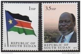Sud-Soudan South Sudan Südsudan 2011 Mi. 1 - 2 Dr John Garang Flag 1 & 3,5 SSP MNH ** Drapeau Flagge - Zuid-Soedan