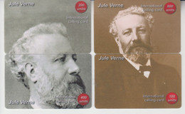 FRENCH WRITER JULES VERNE 2 PUZZLE OF 4 PHONE CARDS - Personaggi