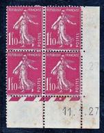 France Semeuse YT 238 CD 11/01/27 N* MH Rousseurs En Marge, Voir Scan - ....-1929
