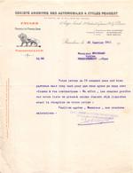 18401  3348   1911   FACTURE AUTOMOBILES & CYCLES PEUGEOT A BEAULIEU - M.FOUCHARD A HENRICHEMONT - 1900 – 1949