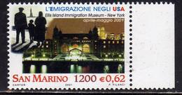REPUBBLICA DI SAN MARINO 2001 EMIGRAZIONE NEGLI USA EMIGRATION IN US IL MUSEO DELLL'IMMIGRAZIONE NEW YORK LIRE 1200 MNH - Nuovi