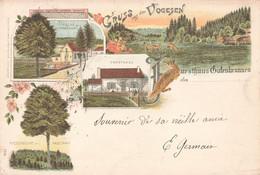 Allemagne Occupation Alsace Lorraine Gruss Gruß Aus Den Vogesen Kirche Forsthaus Gutenbrunnen Litho Cachet 1898 Elsaß - Elsass
