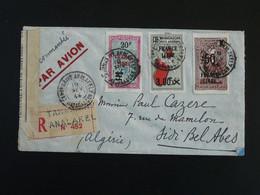 Surchargés France Libre Sur Lettre Recommandée Avec Censure Tananarive Analakel Madagascar 1944 - Lettres & Documents