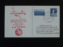 Entier Postal Stationery Card Premier Vol First Flight Air France Berlin 1960 - Briefe U. Dokumente
