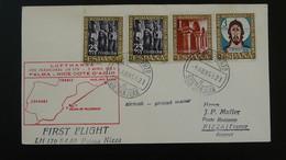 Lettre Premier Vol First Flight Cover Palma Mallorca Nice Lufthansa Espagne Spain 1963 - 1961-70 Storia Postale