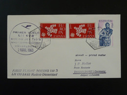 Lettre Premier Vol First Flight Cover Madrid Dusseldorf Lufthansa Espagne Spain 1963 - 1961-70 Storia Postale