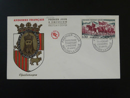 FDC Roi King Charlemagne Moyen Age Medieval Andorre 1963 - FDC