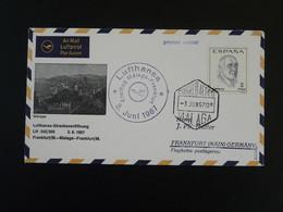 Lettre Premier Vol First Flight Cover Malaga Frankfurt Lufthansa Espagne Spain 1967 - 1961-70 Storia Postale