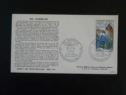 FDC Chevalier Knight Duguesclin Medieval Chateauneuf De Randon 48 Lozere Edition Berck 1968 - 1960-1969