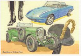Bentley Et Lotus Elan  -  Art Card By Gérard Crevon De Blainville  -  CPM - Toerisme