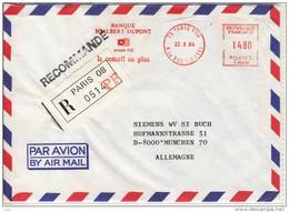 Lettre BANQUE Scalbert DUPONT, EMA   - RECOMMANDE Paris 08 , Par Avion Freistempel,red Meter Stamp - 1960-.... Brieven & Documenten