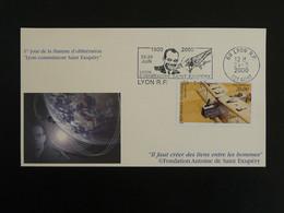 Lettre Commemorative Cover Flamme Saint-Exupéry Lyon Poste Aerienne 2000 - 1960-.... Covers & Documents