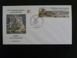 Lettre FDC Cover Vignette LISA Chateau Medieval Castle Aigle Eagle Assemblée Philapostel Murol 63 Puy De Dome 2014 - Castelli