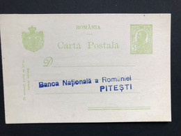 ROMANIA 1916 Pre-paid Postcard  - To Pitesti - Covers & Documents