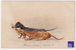 Rare AK CPA Allemagne Mein Oder Dein Chien Teckel Os Illustrateur - Dog Dachshund Tax Postcard A58-30 - Dogs