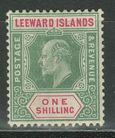 Leeward Islands 1908 1 Sh ☀ Green / Carmin ☀ MH OG - Leeward  Islands