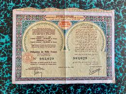 EMPIRE  CHÉRIFIEN  EMPRUNT  4%  1930/1931 ------------ Obligation  De  1.000 Frs - Zonder Classificatie